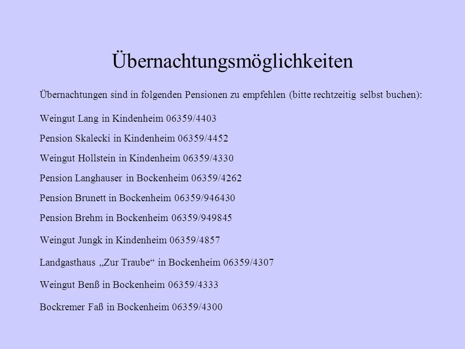 """Übernachtungsmöglichkeiten Übernachtungen sind in folgenden Pensionen zu empfehlen (bitte rechtzeitig selbst buchen): Weingut Lang in Kindenheim 06359/4403 Pension Skalecki in Kindenheim 06359/4452 Weingut Hollstein in Kindenheim 06359/4330 Pension Langhauser in Bockenheim 06359/4262 Pension Brunett in Bockenheim 06359/946430 Pension Brehm in Bockenheim 06359/949845 Weingut Jungk in Kindenheim 06359/4857 Landgasthaus """"Zur Traube in Bockenheim 06359/4307 Weingut Benß in Bockenheim 06359/4333 Bockremer Faß in Bockenheim 06359/4300"""