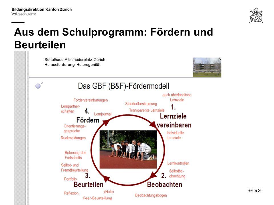 Seite 20 15.3.14 / A. Baumann, M. Truniger QUIMS, Rolle der Schulpflege und Schulleitung Aus dem Schulprogramm: Fördern und Beurteilen