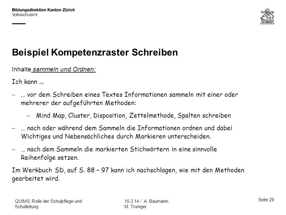 Beispiel Kompetenzraster Schreiben Seite 29 15.3.14 / A. Baumann, M. Truniger QUIMS, Rolle der Schulpflege und Schulleitung Inhalte sammeln und Ordnen