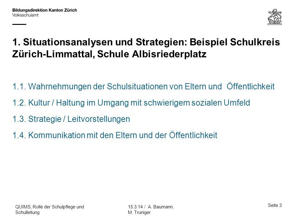 1. Situationsanalysen und Strategien: Beispiel Schulkreis Zürich-Limmattal, Schule Albisriederplatz 1.1. Wahrnehmungen der Schulsituationen von Eltern