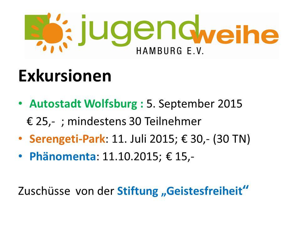 Exkursionen Autostadt Wolfsburg : 5. September 2015 € 25,- ; mindestens 30 Teilnehmer Serengeti-Park: 11. Juli 2015; € 30,- (30 TN) Phänomenta: 11.10.