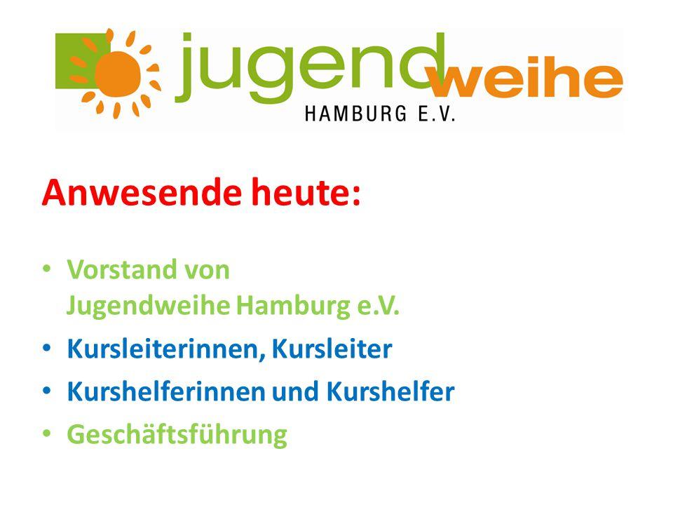 Anwesende heute: Vorstand von Jugendweihe Hamburg e.V. Kursleiterinnen, Kursleiter Kurshelferinnen und Kurshelfer Geschäftsführung