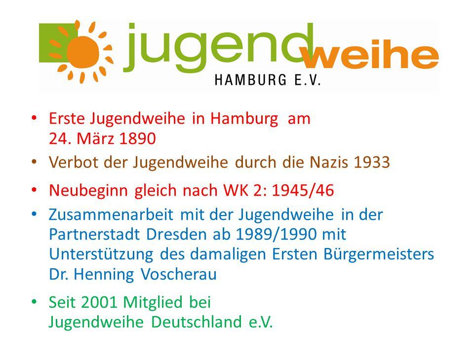 Erste Jugendweihe in Hamburg am 24. März 1890 Verbot der Jugendweihe durch die Nazis 1933 Neubeginn gleich nach WK 2: 1945/46 Zusammenarbeit mit der J