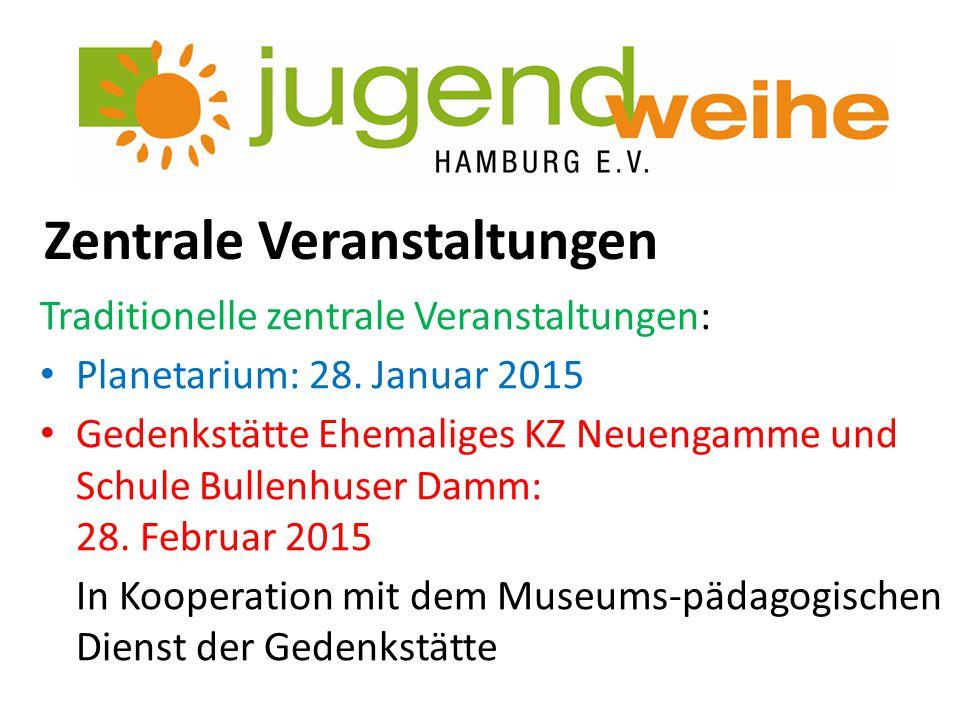 Zentrale Veranstaltungen Traditionelle zentrale Veranstaltungen: Planetarium: 28. Januar 2015 Gedenkstätte Ehemaliges KZ Neuengamme und Schule Bullenh