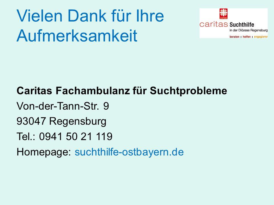 Vielen Dank für Ihre Aufmerksamkeit Caritas Fachambulanz für Suchtprobleme Von-der-Tann-Str. 9 93047 Regensburg Tel.: 0941 50 21 119 Homepage: suchthi