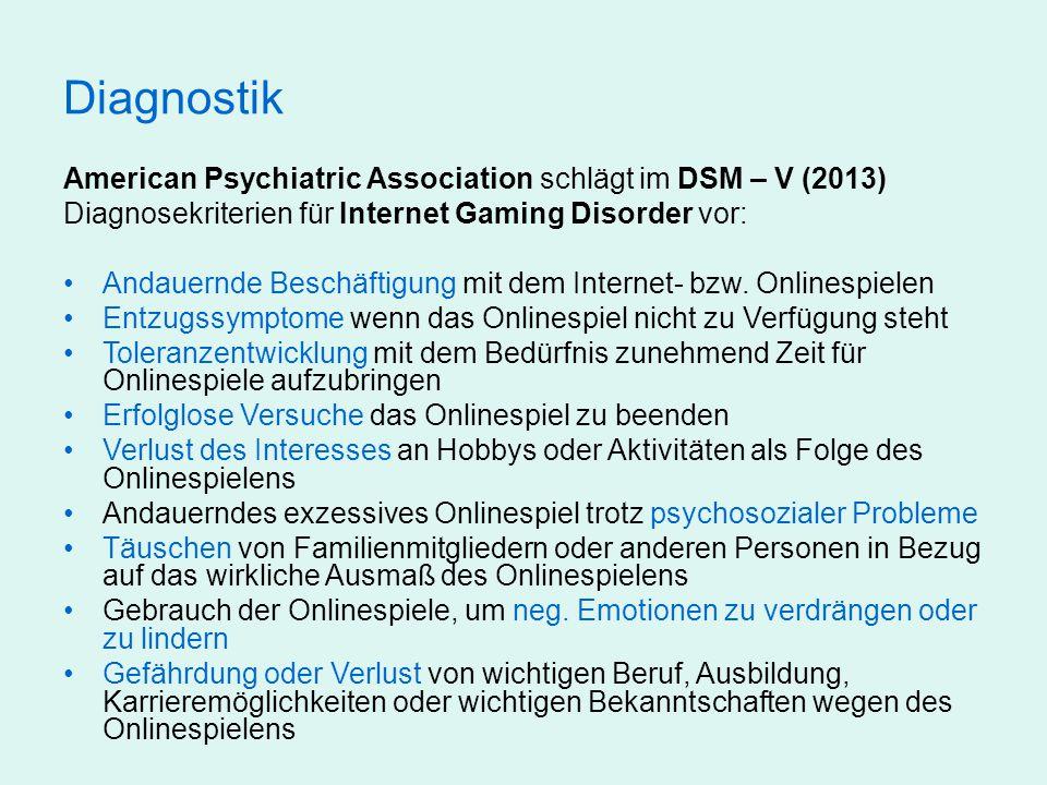 Diagnostik American Psychiatric Association schlägt im DSM – V (2013) Diagnosekriterien für Internet Gaming Disorder vor: Andauernde Beschäftigung mit