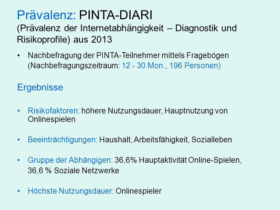 Prävalenz: PINTA-DIARI (Prävalenz der Internetabhängigkeit – Diagnostik und Risikoprofile) aus 2013 Nachbefragung der PINTA-Teilnehmer mittels Fragebö