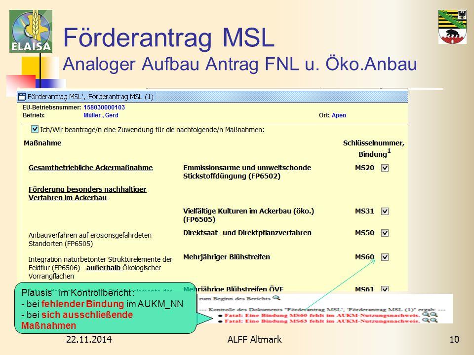 22.11.2014 ALFF Altmark10 Förderantrag MSL Analoger Aufbau Antrag FNL u. Öko.Anbau Plausis im Kontrollbericht : - bei fehlender Bindung im AUKM_NN - b