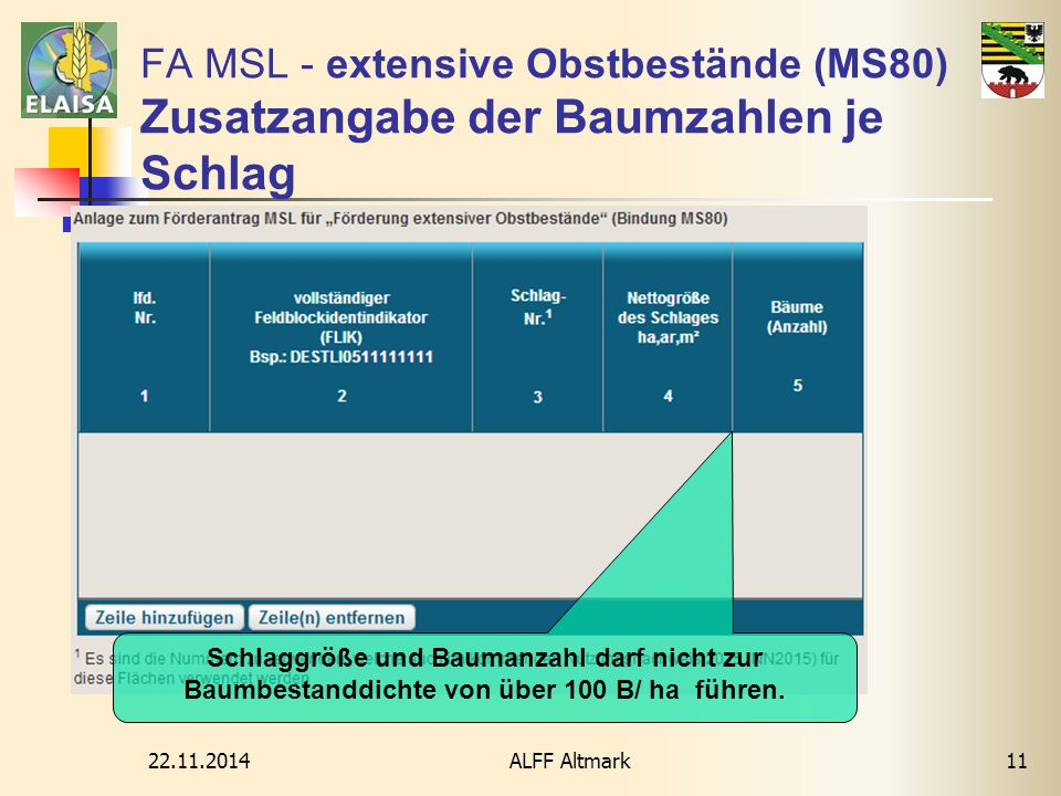 22.11.2014 ALFF Altmark11 FA MSL - extensive Obstbestände (MS80) Zusatzangabe der Baumzahlen je Schlag Schlaggröße und Baumanzahl darf nicht zur Baumb