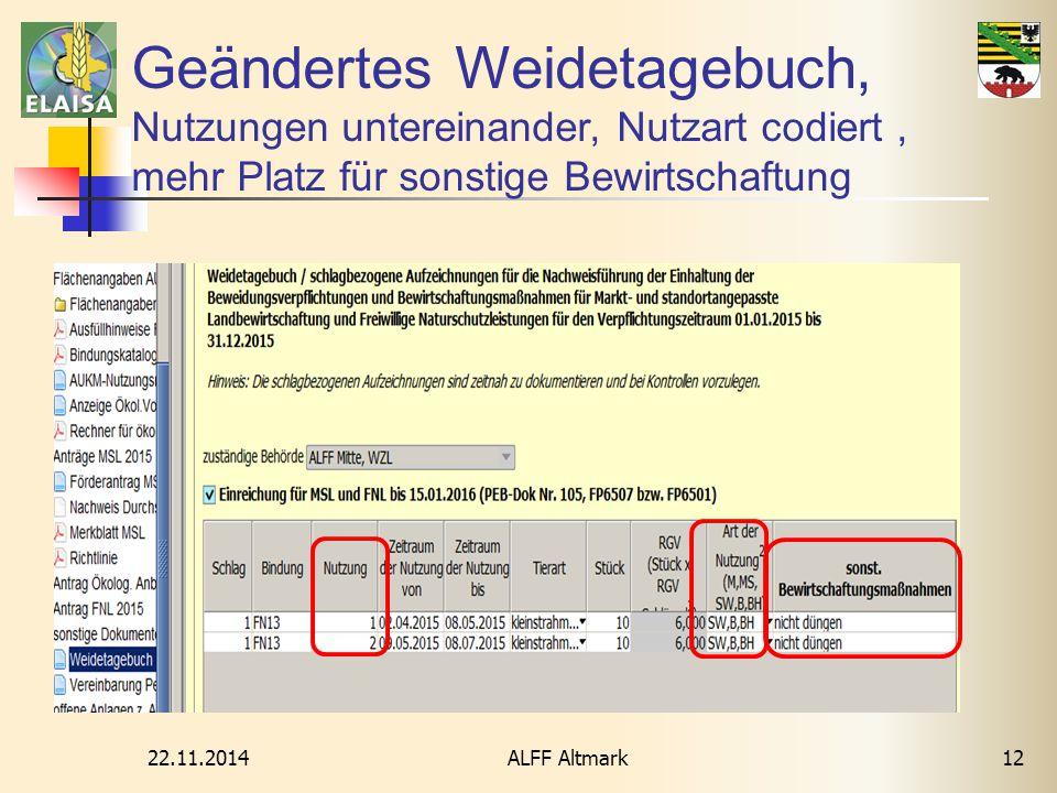 22.11.2014 ALFF Altmark12 Geändertes Weidetagebuch, Nutzungen untereinander, Nutzart codiert, mehr Platz für sonstige Bewirtschaftung