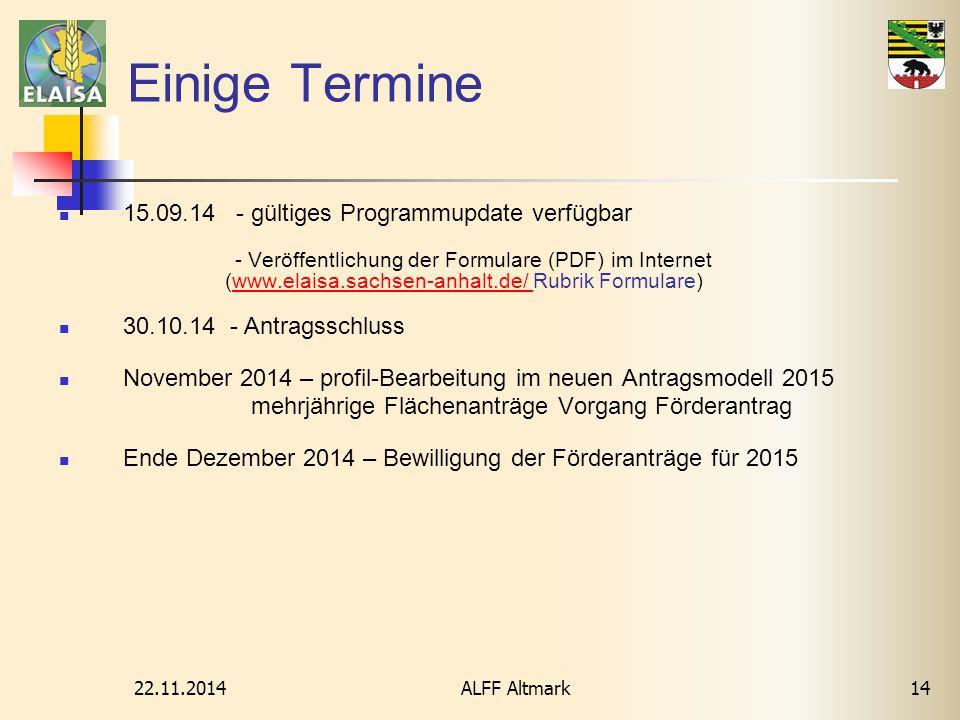 22.11.2014 ALFF Altmark14 Einige Termine 15.09.14 - gültiges Programmupdate verfügbar - Veröffentlichung der Formulare (PDF) im Internet (www.elaisa.s