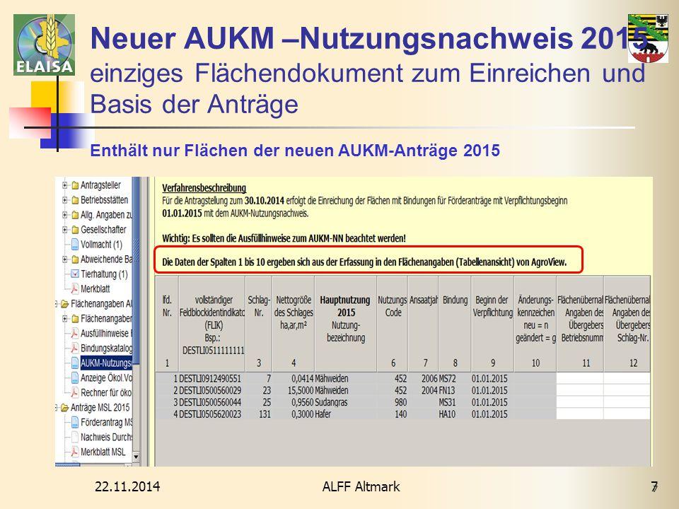 22.11.2014ALFF Altmark 7 Neuer AUKM –Nutzungsnachweis 2015 einziges Flächendokument zum Einreichen und Basis der Anträge 7 Enthält nur Flächen der neu