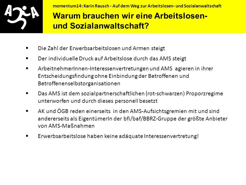momentum14: Karin Rausch - Auf dem Weg zur Arbeitslosen- und Sozialanwaltschaft Inhaltsübersicht  Was geschah bisher?  Warum brauchen wir eine Arbei