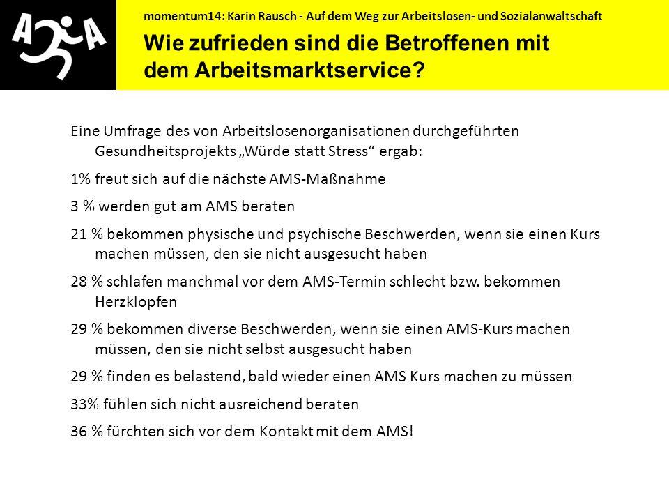 momentum14: Karin Rausch - Auf dem Weg zur Arbeitslosen- und Sozialanwaltschaft Wie zufrieden sind die Betroffenen mit dem Arbeitsmarktservice? Die sc
