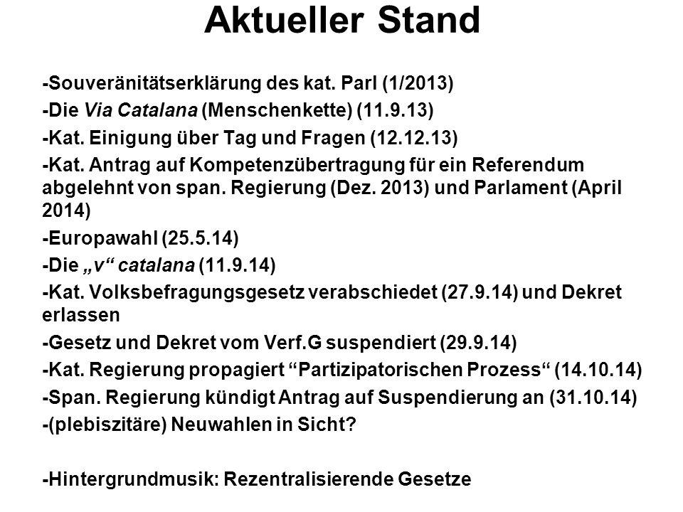 Aktueller Stand -Souveränitätserklärung des kat. Parl (1/2013) -Die Via Catalana (Menschenkette) (11.9.13) -Kat. Einigung über Tag und Fragen (12.12.1