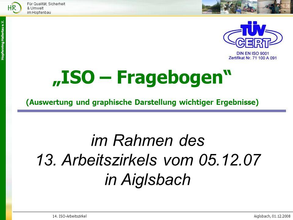 """Hopfenring Hallertau e.V. 14. ISO-ArbeitszirkelAiglsbach, 01.12.2008 Für Qualität, Sicherheit & Umwelt im Hopfenbau """"ISO – Fragebogen"""" (Auswertung und"""