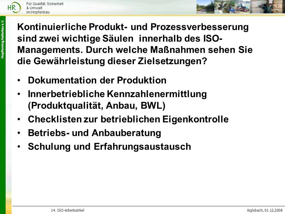Hopfenring Hallertau e.V. 14. ISO-ArbeitszirkelAiglsbach, 01.12.2008 Für Qualität, Sicherheit & Umwelt im Hopfenbau Kontinuierliche Produkt- und Proze