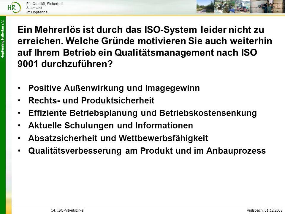 Hopfenring Hallertau e.V. 14. ISO-ArbeitszirkelAiglsbach, 01.12.2008 Für Qualität, Sicherheit & Umwelt im Hopfenbau Ein Mehrerlös ist durch das ISO-Sy