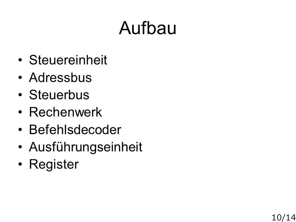 10/14 Aufbau Steuereinheit Adressbus Steuerbus Rechenwerk Befehlsdecoder Ausführungseinheit Register