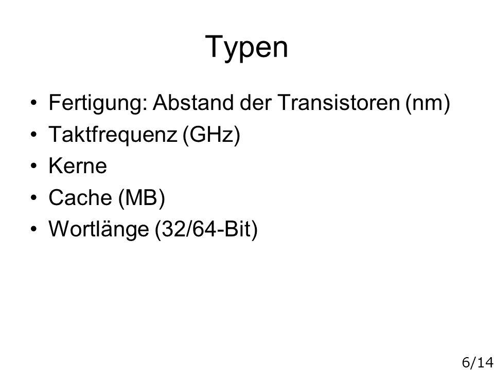 6/14 Typen Fertigung: Abstand der Transistoren (nm) Taktfrequenz (GHz) Kerne Cache (MB) Wortlänge (32/64-Bit)