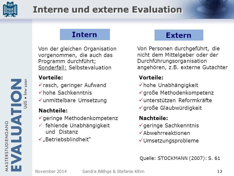 Interne und externe Evaluation Quelle: STOCKMANN (2007): S. 61 12 Von Personen durchgeführt, die nicht dem Mittelgeber oder der Durchführungsorganisat