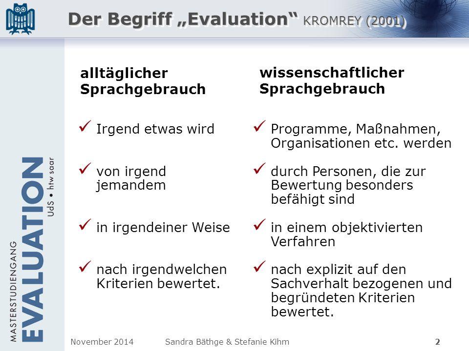 """Der Begriff """"Evaluation"""" KROMREY (2001) Irgend etwas wird von irgend jemandem in irgendeiner Weise nach irgendwelchen Kriterien bewertet. Programme, M"""