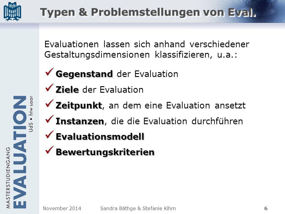 Typen & Problemstellungen von Eval. Gegenstand Gegenstand der Evaluation Ziele Ziele der Evaluation Zeitpunkt Zeitpunkt, an dem eine Evaluation ansetz