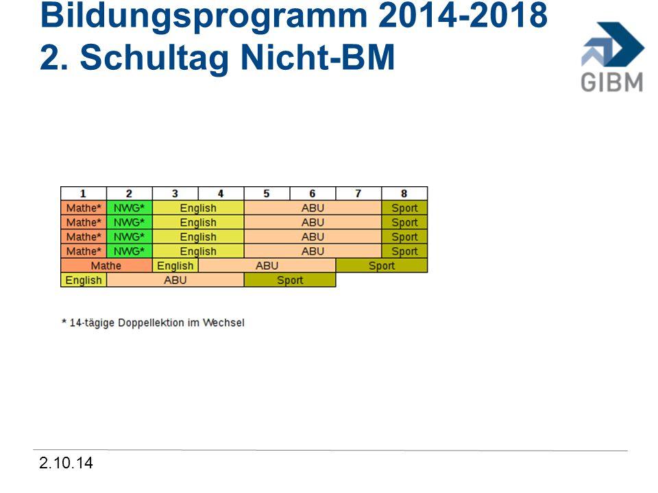 2.10.14 Bildungsprogramm 2014-2018 2. Schultag Nicht-BM