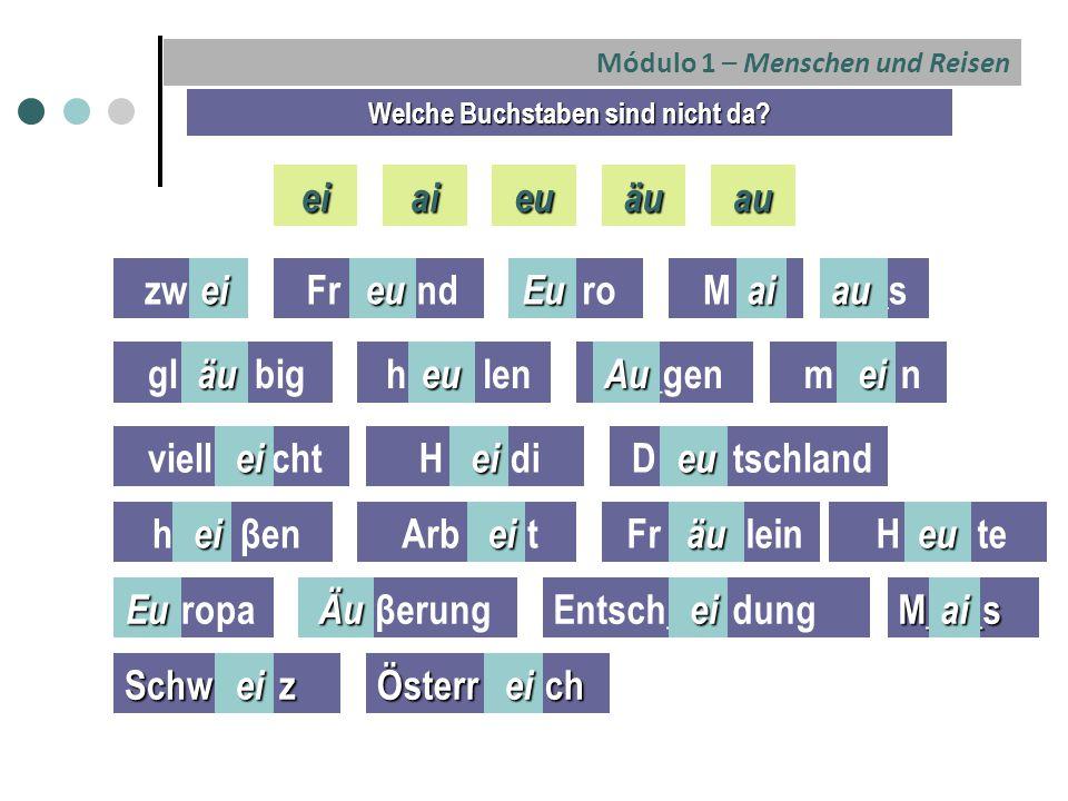 Módulo 1 – Menschen und Reisen Welche Buchstaben sind nicht da.