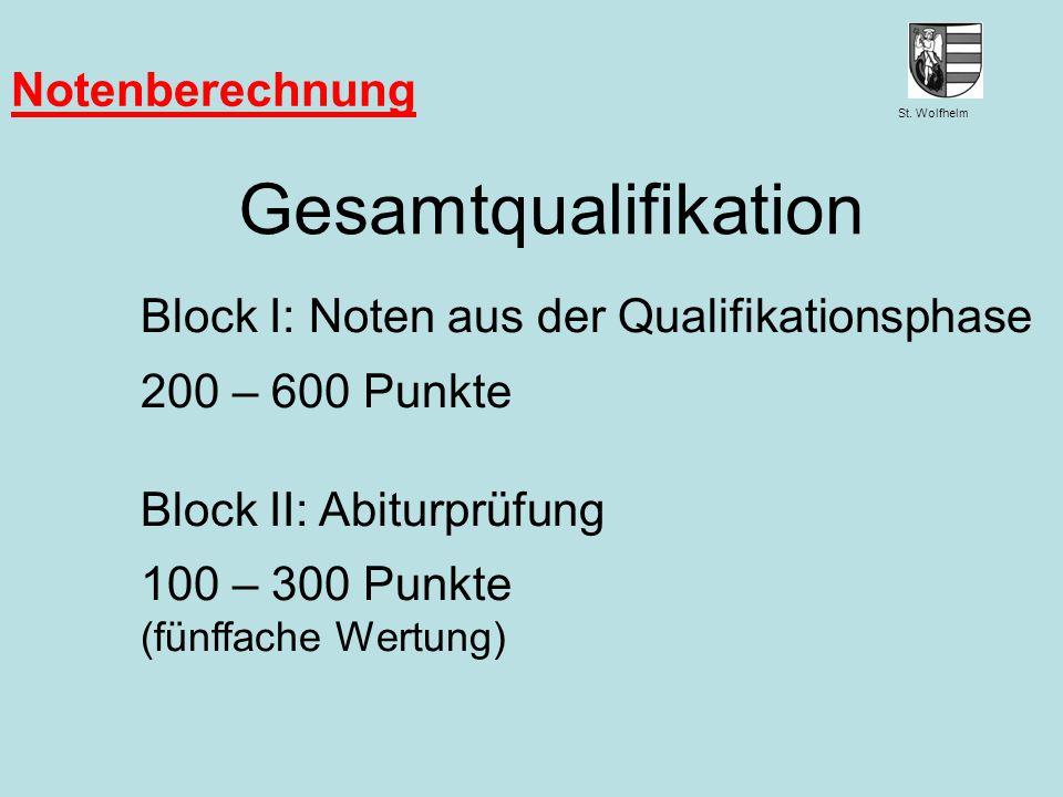 St. Wolfhelm Juni 2014Jennen, GSW Notenberechnung Gesamtqualifikation Block I: Noten aus der Qualifikationsphase 200 – 600 Punkte Block II: Abiturprüf
