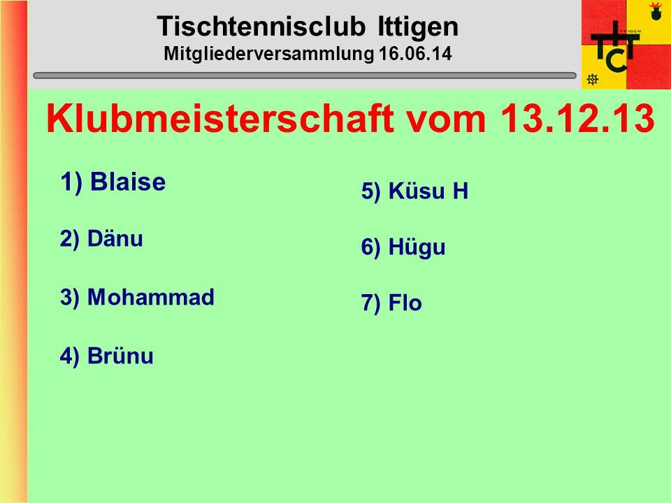 Tischtennisclub Ittigen Mitgliederversammlung 16.06.14 STT-Cup 1.1.