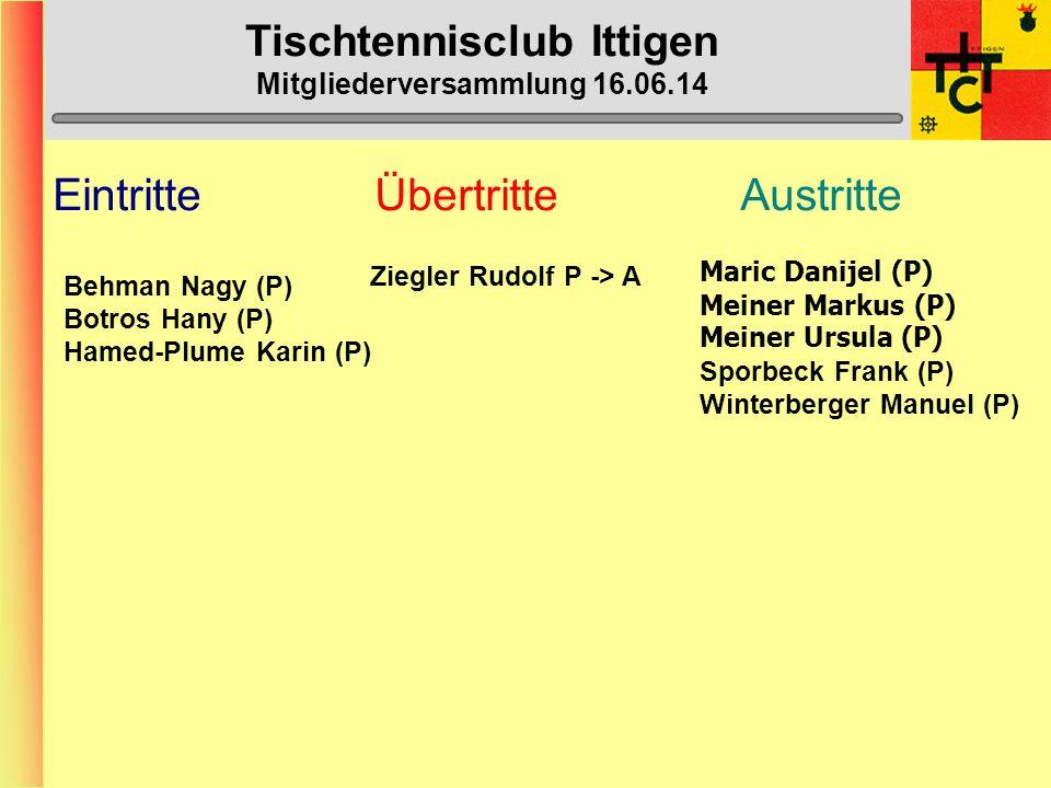 Tischtennisclub Ittigen Mitgliederversammlung 16.06.14 Willkommen zur Mitgliederversammlung 2014 Vom 16.
