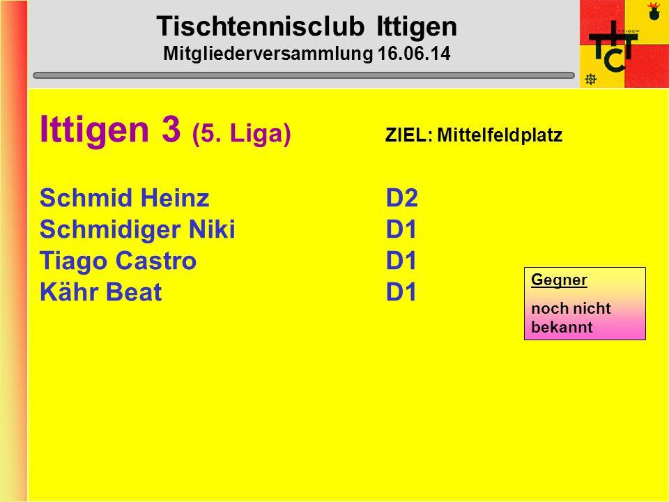 Tischtennisclub Ittigen Mitgliederversammlung 16.06.14 Ittigen 2 (4.