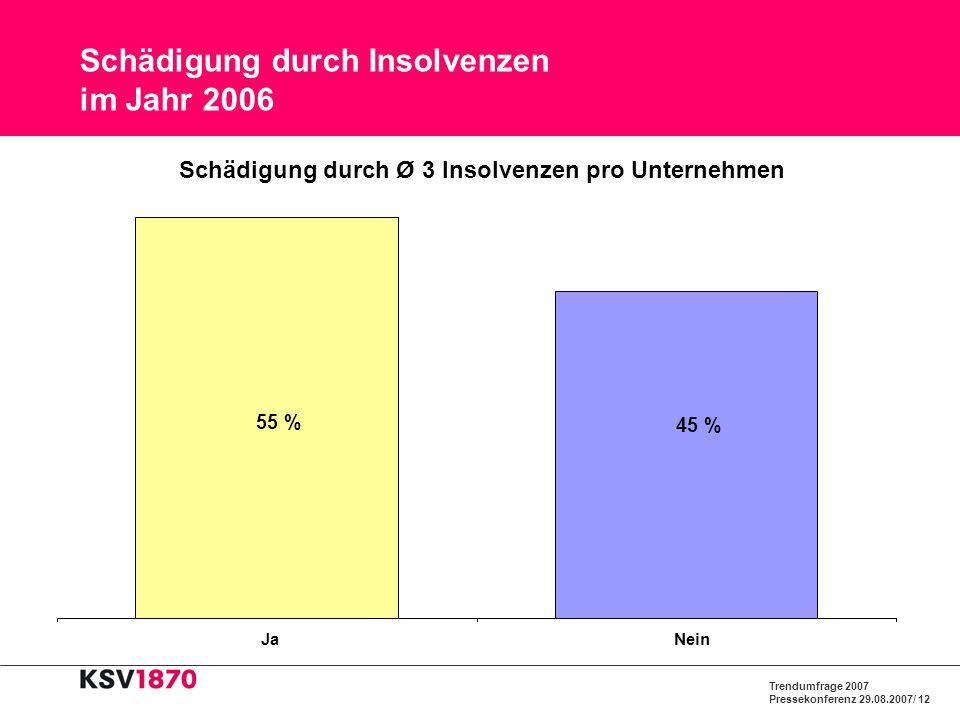 Trendumfrage 2007 Pressekonferenz 29.08.2007/ 12 Schädigung durch Insolvenzen im Jahr 2006 45 % 55 % JaNein Schädigung durch Ø 3 Insolvenzen pro Unter