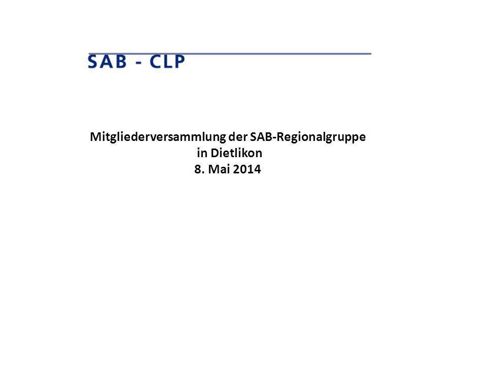 Mitgliederversammlung der SAB-Regionalgruppe in Dietlikon 8. Mai 2014
