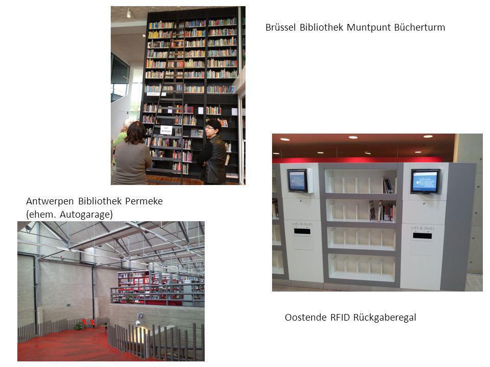 Brüssel Bibliothek Muntpunt Bücherturm Oostende RFID Rückgaberegal Antwerpen Bibliothek Permeke (ehem. Autogarage)
