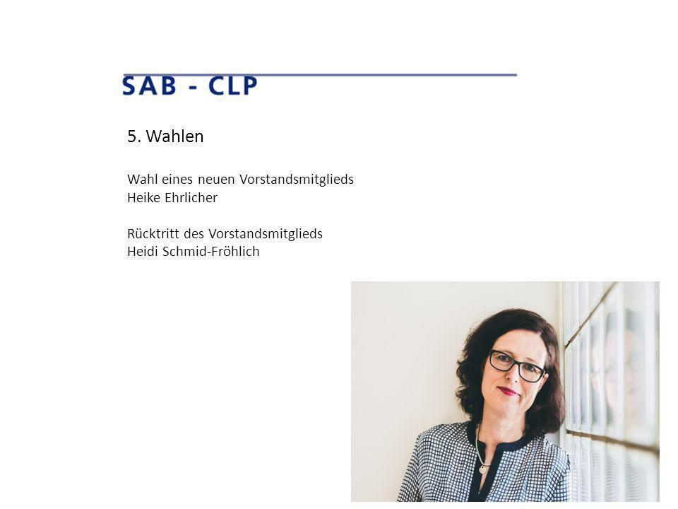 5. Wahlen Wahl eines neuen Vorstandsmitglieds Heike Ehrlicher Rücktritt des Vorstandsmitglieds Heidi Schmid-Fröhlich