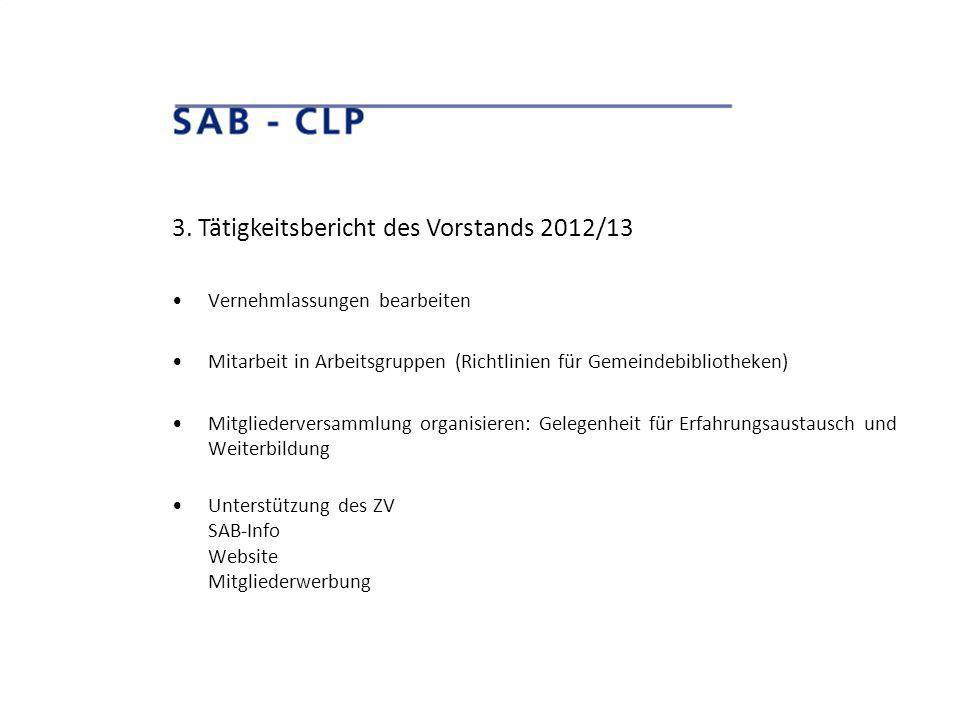 3. Tätigkeitsbericht des Vorstands 2012/13 Vernehmlassungen bearbeiten Mitarbeit in Arbeitsgruppen (Richtlinien für Gemeindebibliotheken) Mitgliederve