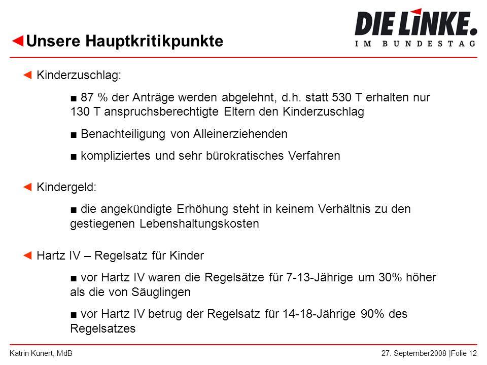 ◄Unsere Hauptkritikpunkte 27. September2008 |Folie 12Katrin Kunert, MdB ◄ Kinderzuschlag: ■ 87 % der Anträge werden abgelehnt, d.h. statt 530 T erhalt