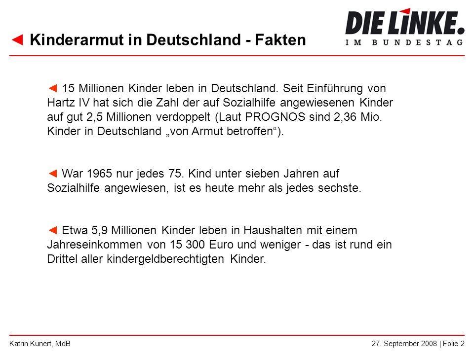 ◄ Kinderarmut in Deutschland - Fakten 27. September 2008 | Folie 2Katrin Kunert, MdB ◄ 15 Millionen Kinder leben in Deutschland. Seit Einführung von H