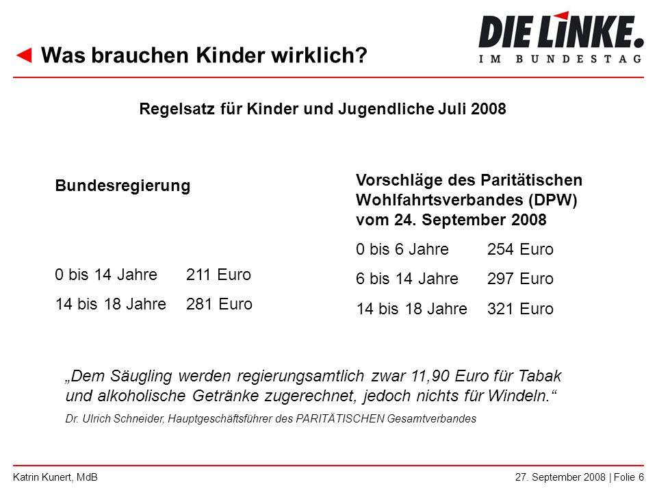 ◄ Was brauchen Kinder wirklich? 27. September 2008 | Folie 6Katrin Kunert, MdB Bundesregierung 0 bis 14 Jahre211 Euro 14 bis 18 Jahre281 Euro Vorschlä