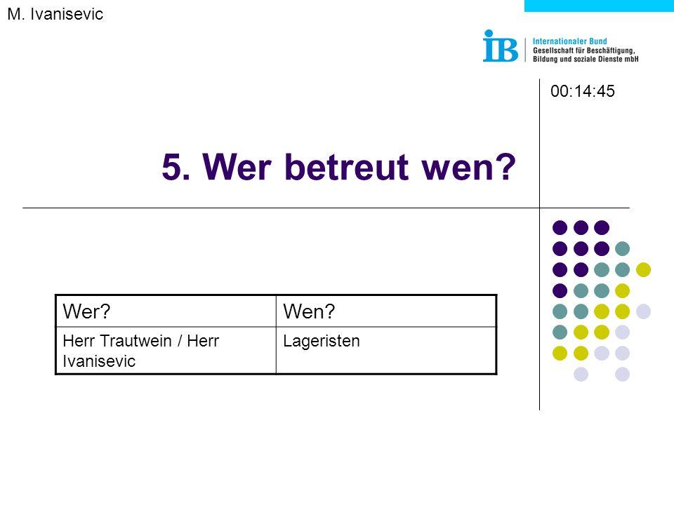 5. Wer betreut wen M. Ivanisevic Wer Wen Herr Trautwein / Herr Ivanisevic Lageristen 00:14:45