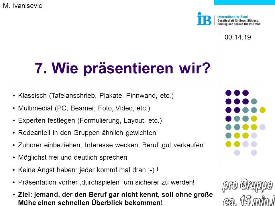 7. Wie präsentieren wir? M. Ivanisevic Klassisch (Tafelanschrieb, Plakate, Pinnwand, etc.) Multimedial (PC, Beamer, Foto, Video, etc.) Experten festle