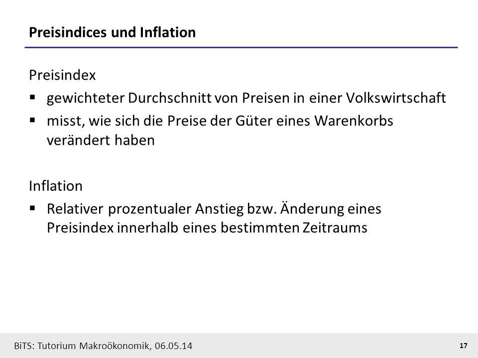BiTS: Tutorium Makroökonomik, 06.05.14 17 Preisindices und Inflation Preisindex  gewichteter Durchschnitt von Preisen in einer Volkswirtschaft  miss