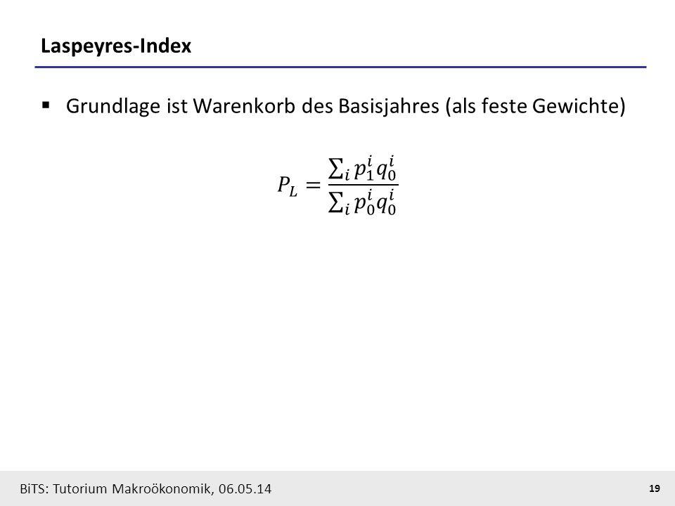 BiTS: Tutorium Makroökonomik, 06.05.14 19 Laspeyres-Index