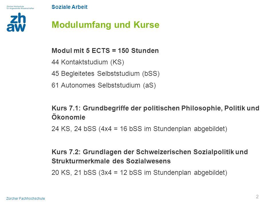 Soziale Arbeit Zürcher Fachhochschule Modulumfang und Kurse Modul mit 5 ECTS = 150 Stunden 44 Kontaktstudium (KS) 45 Begleitetes Selbststudium (bSS) 6