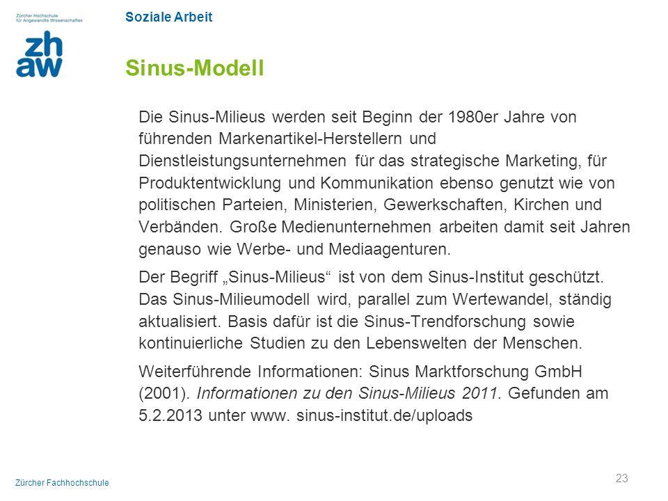 Soziale Arbeit Zürcher Fachhochschule Sinus-Modell Die Sinus-Milieus werden seit Beginn der 1980er Jahre von führenden Markenartikel-Herstellern und D
