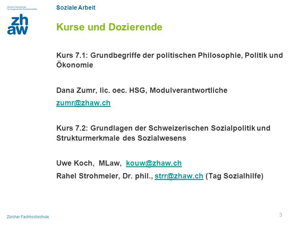 Soziale Arbeit Zürcher Fachhochschule Kurse und Dozierende Kurs 7.1: Grundbegriffe der politischen Philosophie, Politik und Ökonomie Dana Zumr, lic. o
