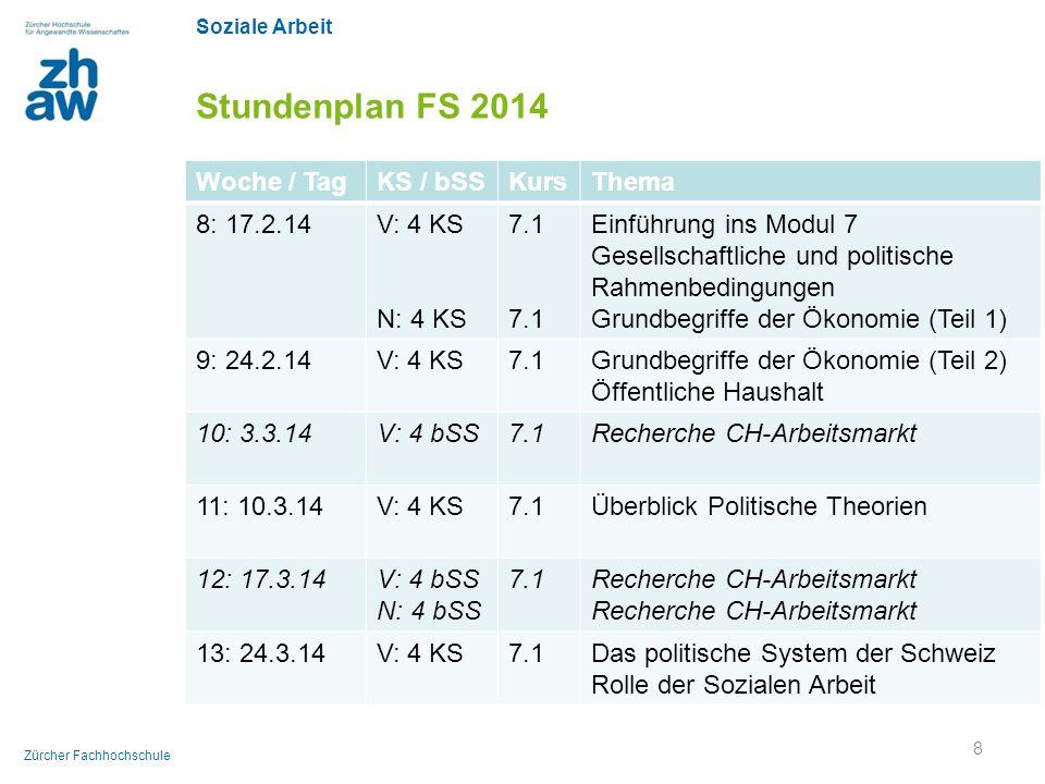 Soziale Arbeit Zürcher Fachhochschule Stundenplan FS 2014 Woche / TagKS / bSSKursThema 8: 17.2.14V: 4 KS N: 4 KS 7.1 Einführung ins Modul 7 Gesellscha