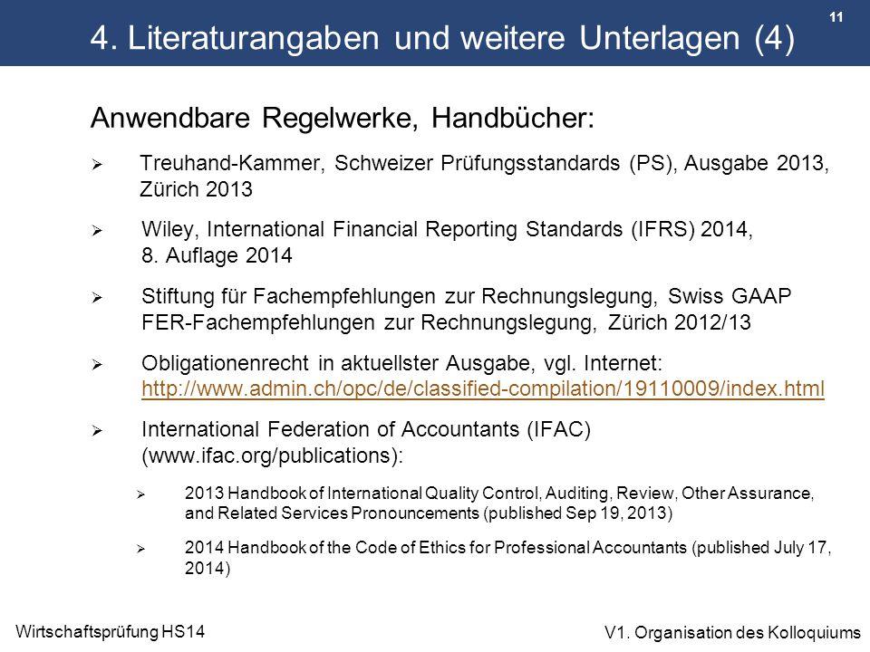 11 Wirtschaftsprüfung HS14 V1. Organisation des Kolloquiums 4. Literaturangaben und weitere Unterlagen (4) Anwendbare Regelwerke, Handbücher:  Treuha